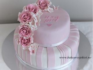 Kake babyshower rosa jente