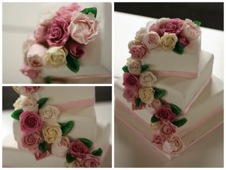Bryllupskake roser peoner rosa 3 etasjer