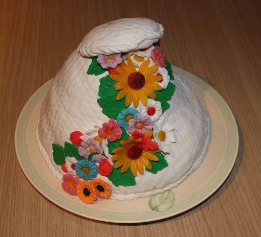 Kake med blomster