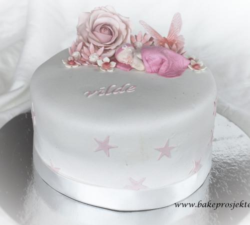 Dåpskake rosa jente blomster